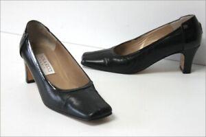 NINA-RICCI-Escarpins-Vintage-Tout-Cuir-Noir-Doubles-Cuir-T-36-TBE