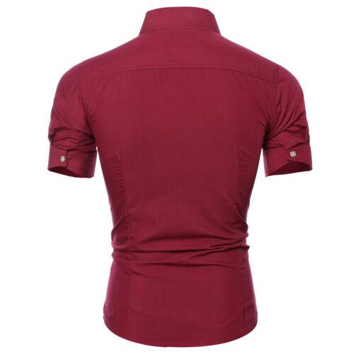 Hommes Casual Chemisier à manches courtes Slim Fit solide Poche robe de coton T-shirts Tops