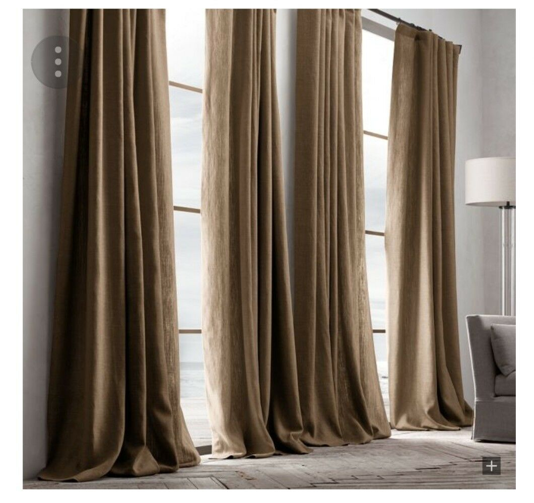 Restoration Hardware Texturot Belgian Linen curtain, 108 inches long, Mocha