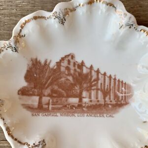 Vintage SAN GABRIEL MISSION Souvenir China Pin Dish LOS ANGELES California