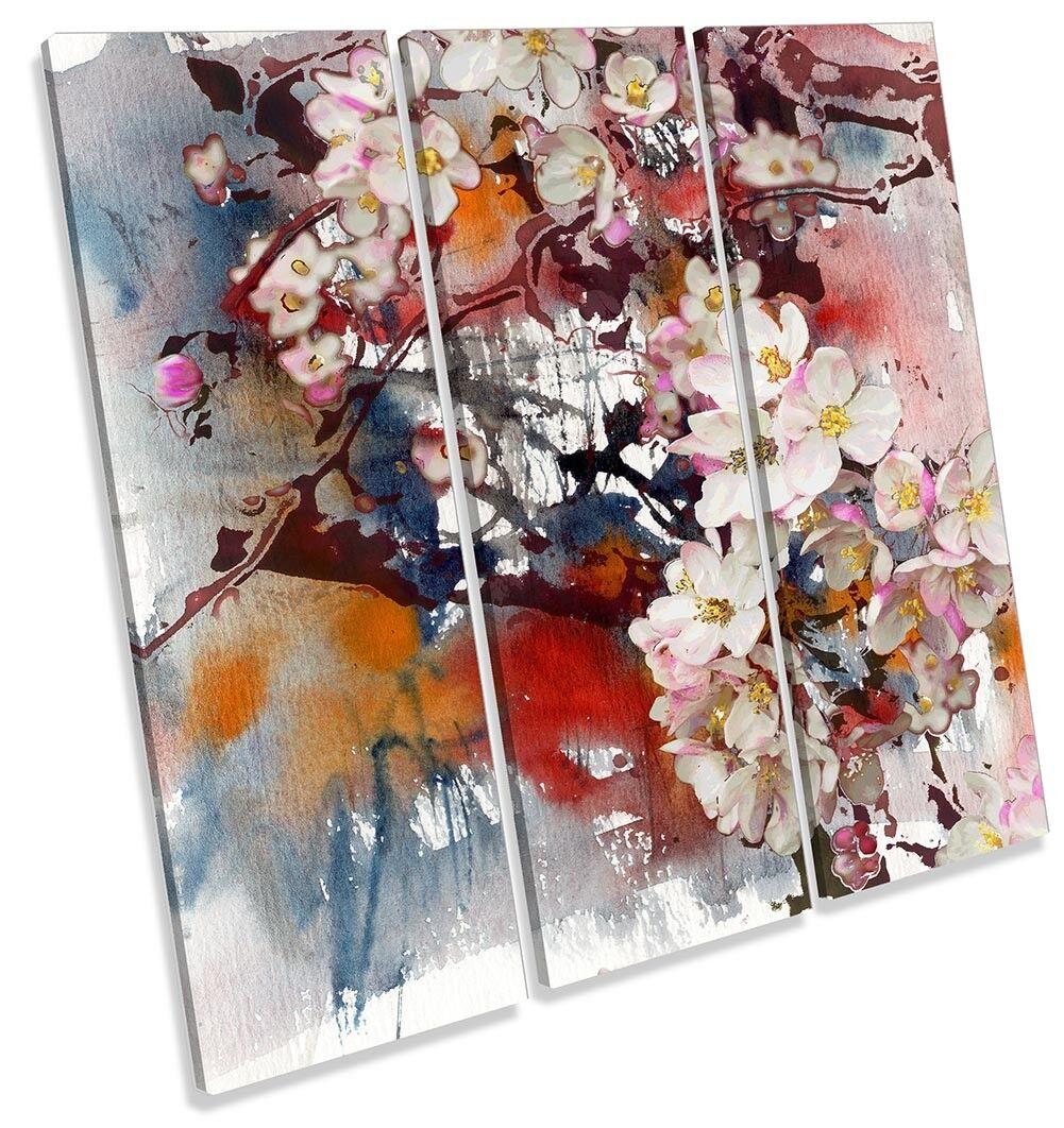 Floral Grunge Blossom Flowers TREBLE CANVAS WALL ARTWORK Print Art