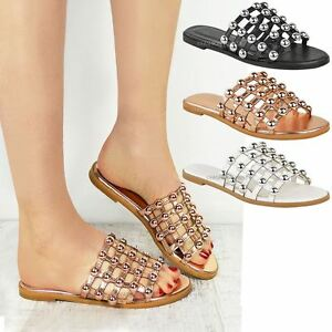 8d8d7830ec08 Image is loading Womens-Ladies-Studded-Slider-Flat-Summer-Sandals-Cage-