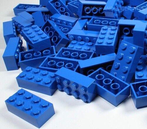 LEGO  Mattoni 200 X Blu 2x4 PIN-Set da Nuovo di Zecca inviati in un sacchetto trasparente sigillati  supporto al dettaglio all'ingrosso