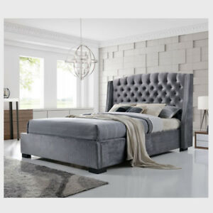 outlet store 5f177 d58b1 Details about 4ft6 Buttoned Back Winged Headboard Velvet Grey Bed Frame  Diamond Tufted Pattern