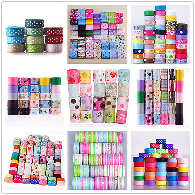 """3/8"""" to 1.5"""" mixed leopard dotty bow sewing gift grosgrain ribbon lot"""