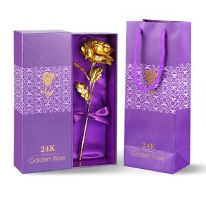 Goldene Gold Rose 24K vergoldet Valentinstag Geburtstag Geschenk Mit Box