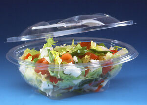 d2dfab65a807 Details about 50 - 370cc CLEAR PLASTIC DISPOSABLE SALAD BOWLS WITH HINGED  LIDS & WHITE SPORKS