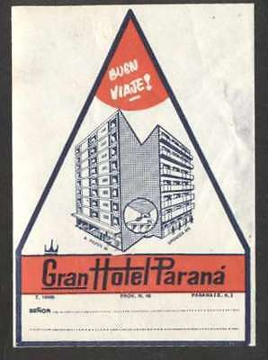 "Merchandise & Memorabilia Lower Price with Argentina Old Luggage Label Gran Hotel Parana 3 3/4"" X 2 3/4"" Clear-Cut Texture"