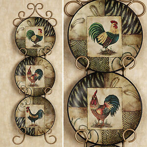 Decorative Rooster Plates Set Of 3 Roosters Plate Kitchen