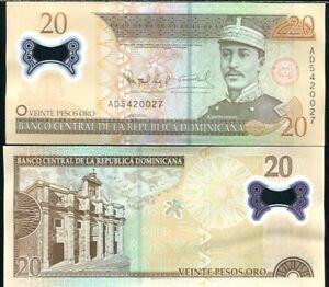 DOMINICAN-REPUBLIC-20-PESOS-ORO-2009-P-182-POLYMER-UNC