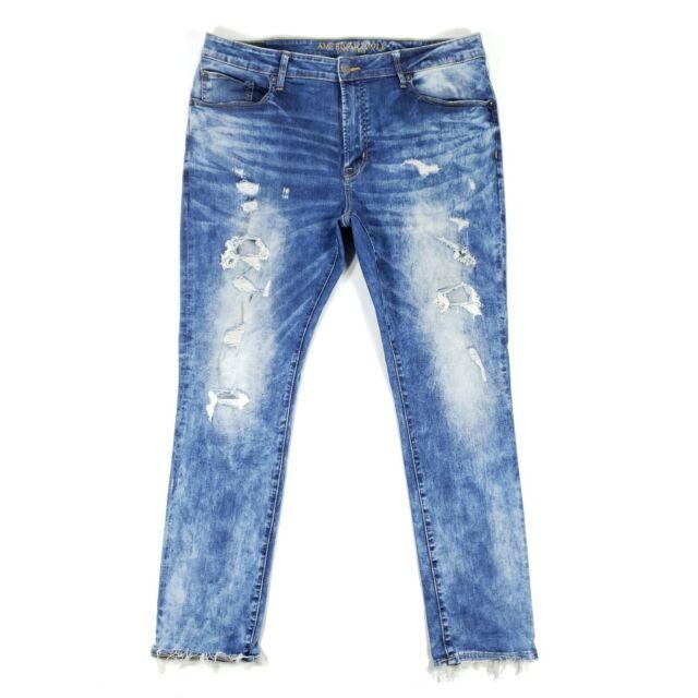 American Eagle Slim Fit Distressed Blue Jeans Men's Stretch Denim Pants 38x32