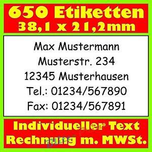 650-Absender-Etiketten-Adress-Etikett-Adress-Aufkleber-bedr-m-Text-nach-Wunsch