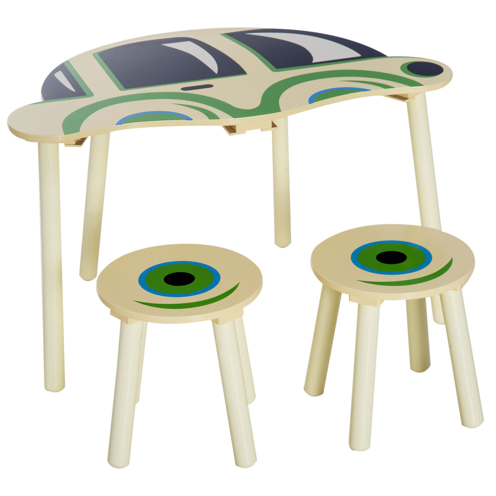 HOMCOM Ensemble Table et Tabourets Enfants Design Voiture Beige Vert MDF Bois de