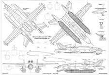 PLS-72025 1/72 Bartini Beriev VVA-14 Full Size Scale Plans (two A2 format pages)
