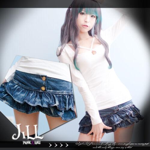 American street punk jourdan barbie doll mini tiered jeans skorts J2B3002
