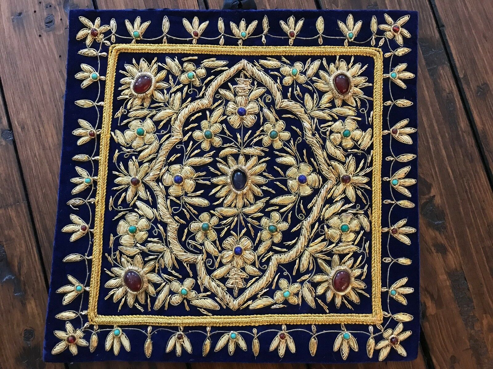 Exotic Handmade Jeweled Carpet Rug Wall Hanging Art Kashmir Zari A Beauty USA