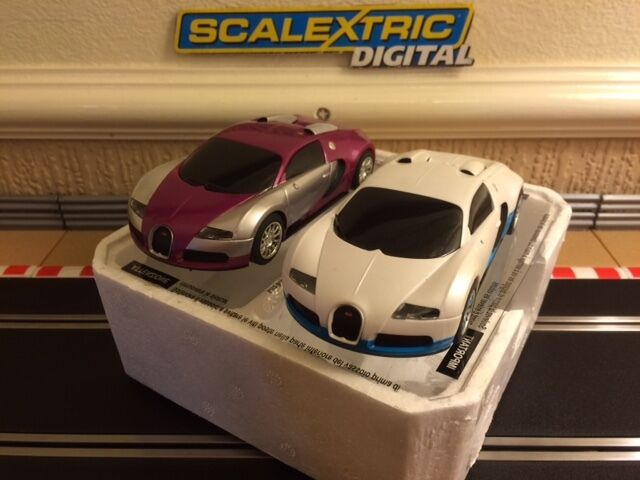 Scalextric Digital x2 Bugatti Veyrons Fully Serviced & New Braids Fitted