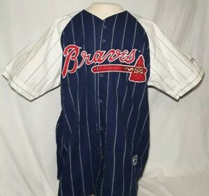 factory price c61d6 cd2a8 Vintage 90s Mirage Atlanta Braves Throwback Pinstripe Jersey ...