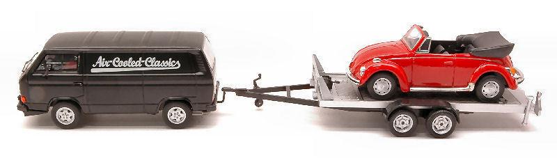 MODELLO 1/43 PREMIUM CLASSIXXS VW T3A BOX VAN+TRAILER+BEETLE CABRIO