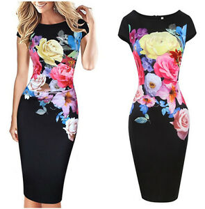 Women-Elegant-Rose-Flower-Print-Casual-Party-Pencil-Dress-Cap-Sleeve-Ruffle-pref