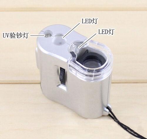 60X Pocket Jewellers Loupe Microscope Glass Jewellery Magnifier LED UV Light