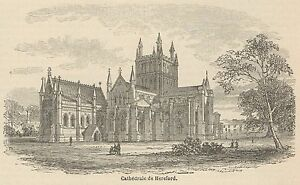 C8531 England - Hereford Cathedral - Stampa Antica - 1892 Engraving Facile à Lubrifier