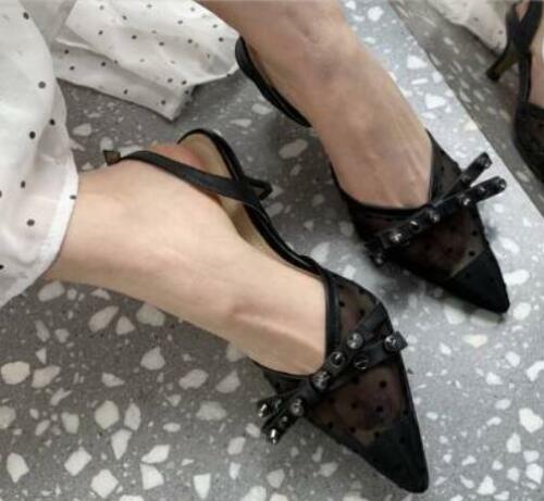 Femme Polka Dot Rivets Bout Pointu Nœud Noeud Dentelle Escarpins Med Talons Chaussures H50