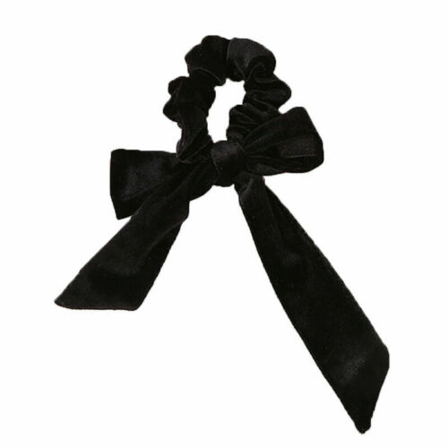 Girls Lady Elastic Velvet Ribbon Bow Hair Tie Rope Hair Band Scrunchies Ponytail