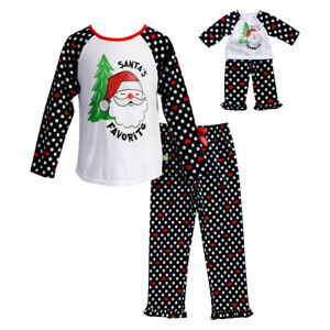 Girl 4-14 and Doll Matching Santa Christmas Black Pajamas Outfit ... 0da02560d