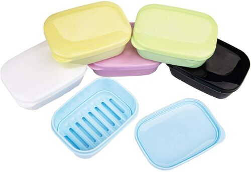 6 Pack Plastic Soap Container Portable Soap Box Holder Travel Case Lid Bathroom