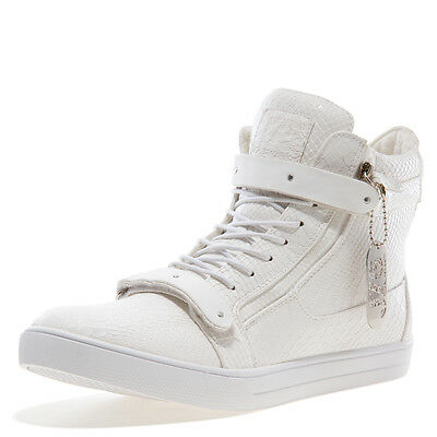 JUMP J75 Zion White Snake Mens Fashion Casual High Top Shoes