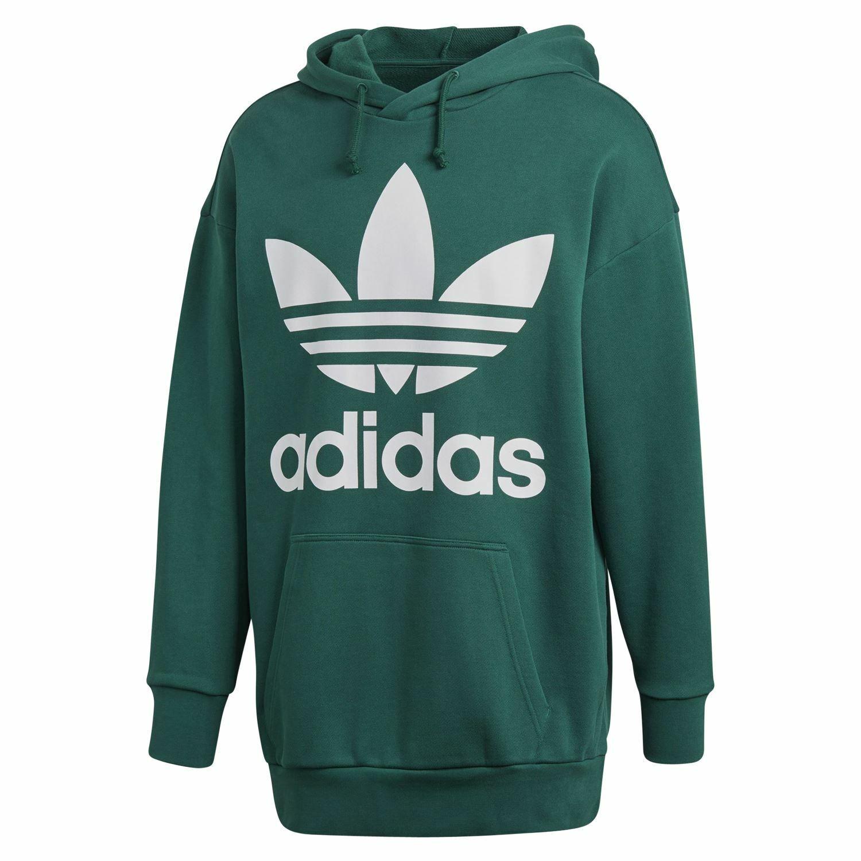 Adidas Original HERREN mit Kapuze Trefoil Grün Übergröße Bequem Warm Retro