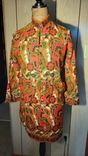 Vintage Bright Paisley Psychedelic Mini dress