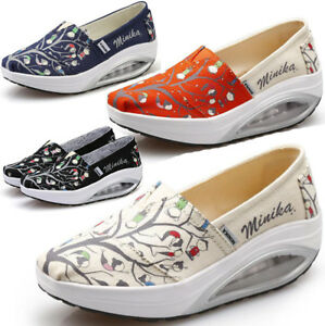 Ladies-Women-Floral-Slip-On-Trainers-Gym-Fitness-Running-Toning-Wedge-Shoes-Size
