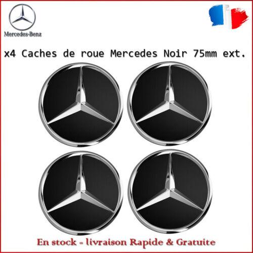 x4 centres de roue cache moyeu 75mm ext Noir emblème Mercedes Class A B C E V R