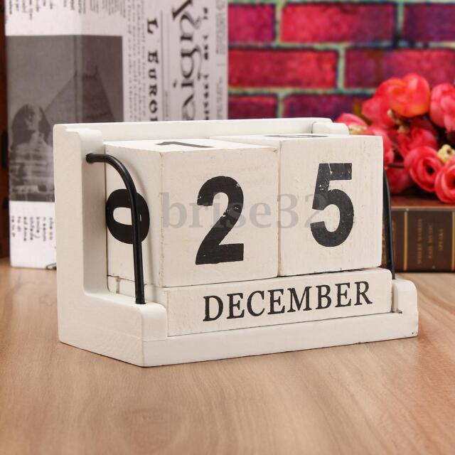 Merveilleux Retro White Wooden Perpetual Calendar Manual Wood Block Small Desk Office  Decor