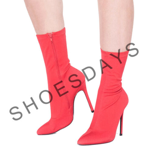 Ladies Lycra Stretch High Heel Stiletto Pointed Toe Ankle Boots Shoes Sock Fit