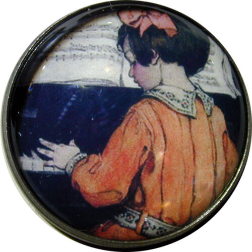 "Girl Plays Piano Crystal Dome Button 1 /& 3//8/"" SD 1 FREE US SHIPPING"