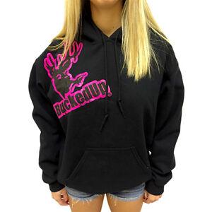 bucked up distressed hoodie black with pink logo ebay
