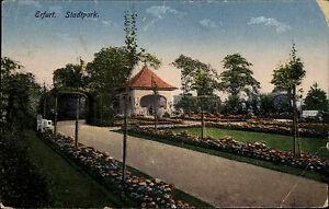 Erfurt-Thueringen-frankierte-AK-1922-Partie-im-Stadtpark-Gruenanlagen-Pavillion
