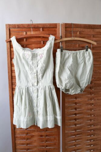 Vintage 40s gingham 2pc playsuit romper set
