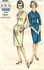 1960's VTG VOGUE Misses' Dress Pattern 6251 Size 12 UNCUT