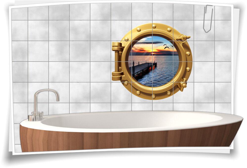 Fliesenaufkleber Fliesenbild Fliesen Bullauge Meer Steg Aufkleber Badezimmer