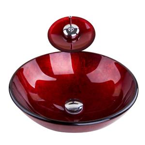 Red Glass Wash Basin Bowl Combo Vessel Sink Waterfall Mixer Faucet Tap Drain Set Ebay