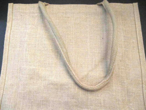 """Natural Jute Tote Bag with Fabric Handles  Shopper Eco-Safe 16/""""x 14/""""x 3.75/"""""""