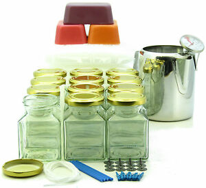 12-square-jars-candle-making-kit-Jug-thermometer-scented-amp-coloured-wax-wick