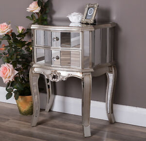 Silver-Mirrored-Bedside-Table-Cabinet-Bedroom-Furniture-Glass-Venetian-2-Drawers