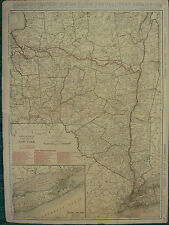 1922 LARGE MAP ~ NEW YORK with RAILROADS STEAMBOAT ELECTRIC LINES ~ RAND MCNALLY