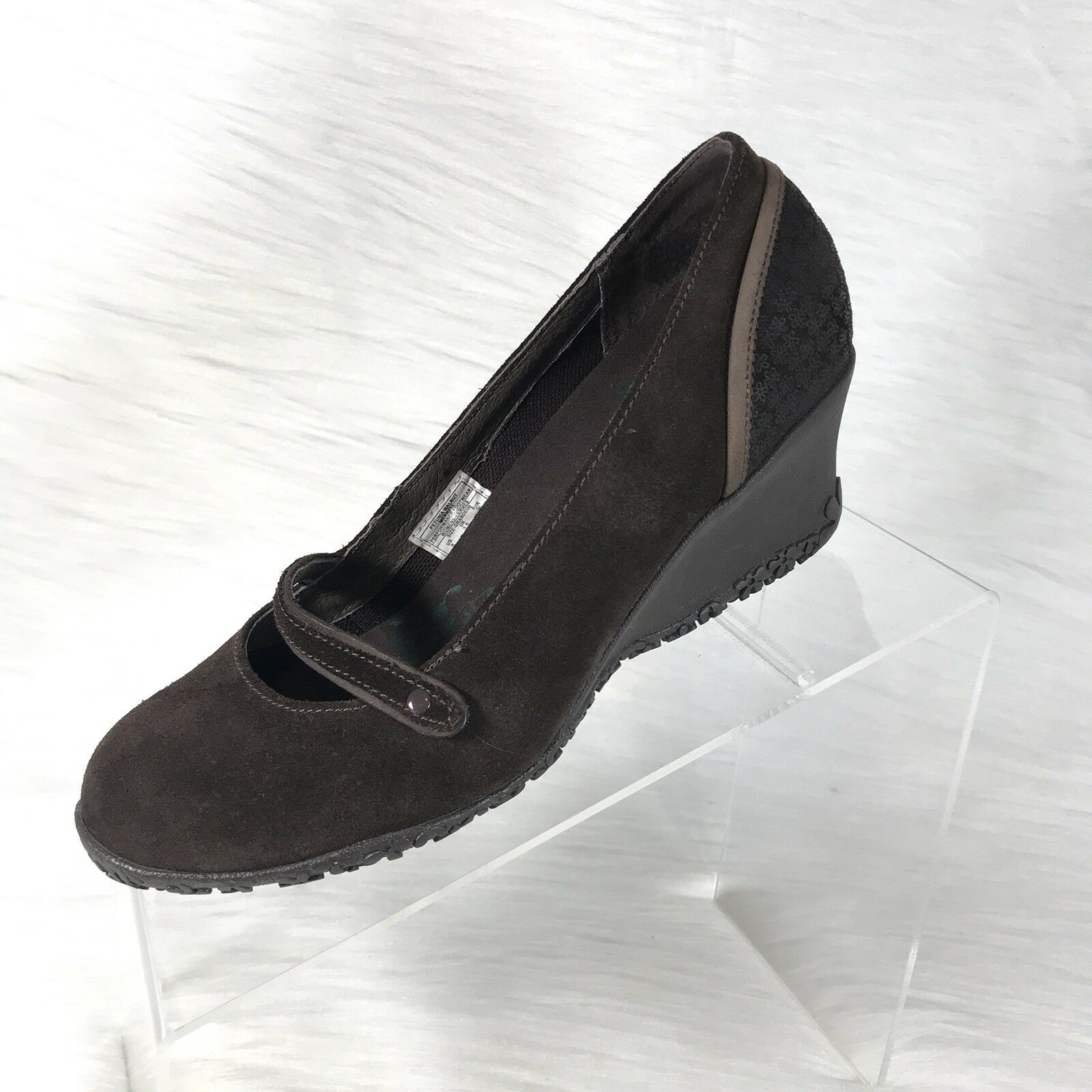 Merrell Petunia Womens Mary Jane shoes  Wedges Brown Suede Size 6