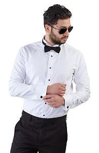 New mens slim fit white wing tip tuxedo dress shirt french for Best slim fit tuxedo shirt